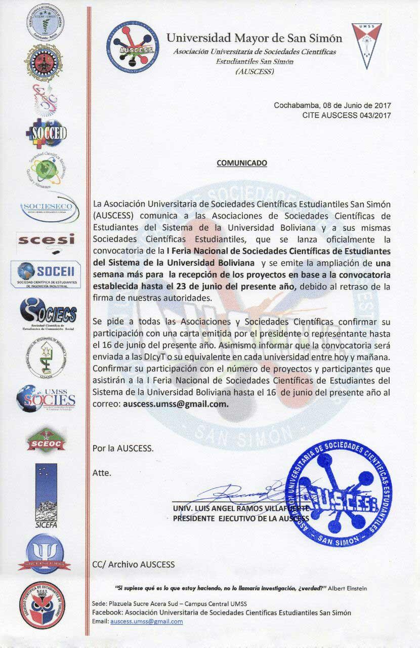 Comunicado Feria Nacional de Sociedades Científicas de Estudiantes